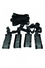 Contraintes de lit - Sex & Mischief : Kit de bondage spécialement adapté pour attacher votre esclave sur le lit.