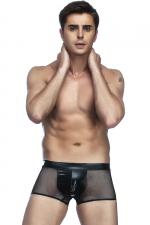 Boxer homme en résille : Mélange de matière et look hyper sexy avec ce boxer homme en tissu wetlook et fine résille.