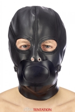 Cagoule BDSM simili cuir avec baillon amovible - Fetish Tentation : Cagoule BDSM haute qualité en simili cuir, avec bâillon amovible et ouverture pour les yeux.
