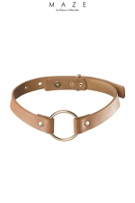 Collier Choker marron - Maze : Un collier 100% Vegan, en faux cuir marron, à la fois tendance, discret et explicite avec son anneau de soumission en métal.