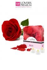 Pétales de rose et bougies - Lovers Premium : 100 Pétales de rose à disperser et 3 bougies à LED pour créer une ambiance sensuelle et glamour.