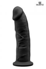 Gode double densité noir 22,5 cm : Gode réaliste noir de 22,5 cm et 5 cm de diamètre à double densité et mémoire de forme utilisant du silexpan pour des sensation plus réelles.