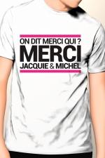 T-shirt Jacquie & Michel n°9 : Tee-shirt officiel (visuel 9, blanc) à l'effigie de  Jacquie & Michel, votre site amateur préféré.