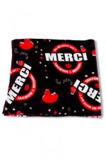 Plaid polaire J et M - noir : Plaid polaire JACQUIE et MICHEL noir, avec le célèbre slogan On dit merci qui?.