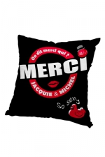Housse de coussin 40x40 J et M - noir : Housse de coussin 40 x 40 cm, coloris noir et rouge, par Jacquie et Michel.