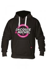 Sweat à capuche J&M Classique 2 : Sweat-shirt à capuche noir avec logo rond on dit merci qui de Jacquie et Michel sur le devant.
