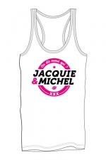 Débardeur homme J&M blanc : Marcel pour homme avec gros logo J&M sur la poitrine, issu de la collection officielle Jacquie & Michel.