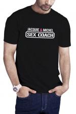 T-shirt Sex Coach noir - Jacquie et Michel : Profitez du T-shirt Sex Coaching J&M pour offrir une formation gratuite et 100% naturelle à vos partenaires potentielles.