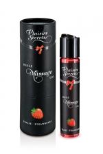 Huile de massage gourmande - Fraise : Huile de massage comestible avec goût fraise exquis, par Plaisirs Secrets.