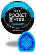 Zolo Corner Pocket - Masturbateur de poche Pocket Pool �  Corner Pocket de marque Zolo, avec texture form�e de nervures successives.