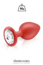 Plug bijou silicone rouge M - Hidden Eden : Plug anal en silicone rouge d'une longueur de 8 cm et d'un diamètre moyen de 3,5 cm. Décoré d'un strass rond transparent.