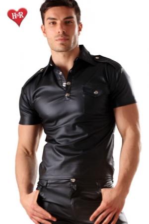 Polo Men's military faux cuir - Polo � poche sur la poitrine effet faux cuir, une ligne tr�s masculine pour homme de caract�re.